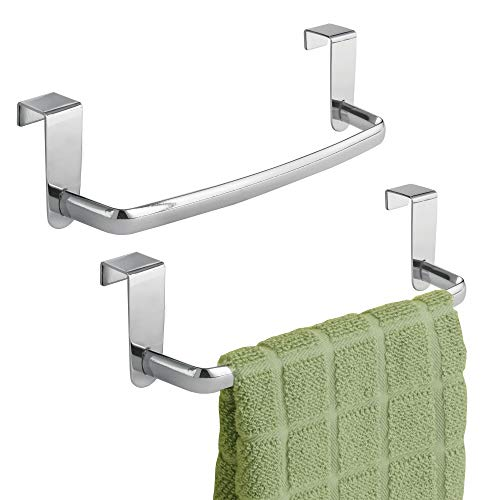 mDesign Kitchen Over Cabinet Metal Towel Bar - Hang on Inside or Outside of Doors, for Hand, Dish, and Tea Towels - 9.75 Wide, 2 Pack - Chrome