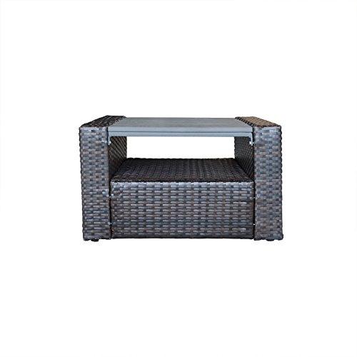 (ORNO TTOBE Patio Furniture Square Wicker Coffee Table with Storage Function,Small)