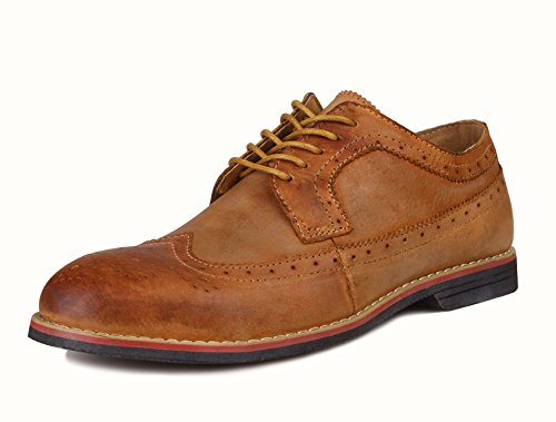 Brown Leather Wingtip Oxfords (PhiFA Men's Distressed Genuine Leather Wingtips Oxfords Lace-UPS US Size 9 Brown)