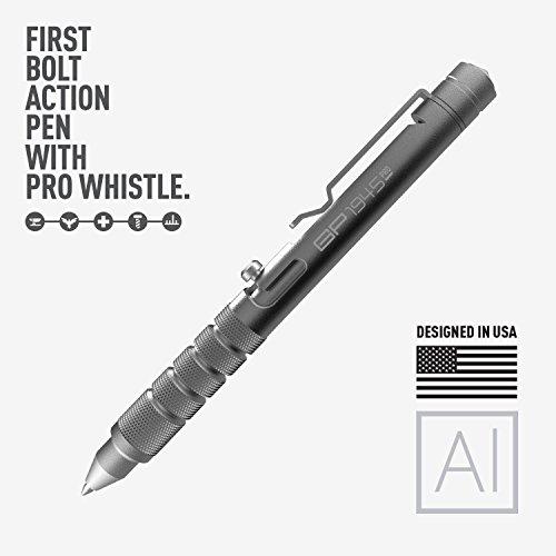 GP 1945 Bolt Action Plus Pen - Machined Aluminum, Multi-Tone Whistle, Glass Breaker Integrated. USA.