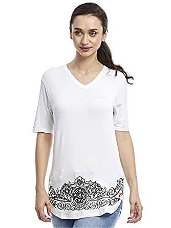 Afterlife White V Neck T-Shirt For Women