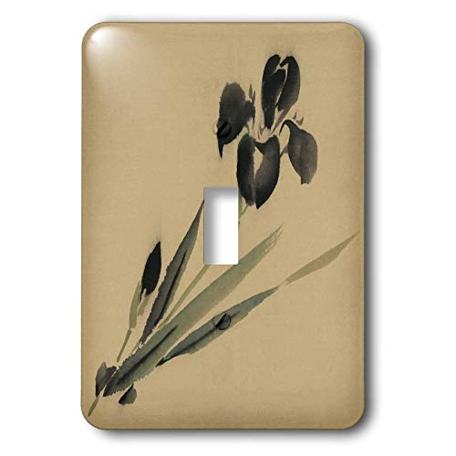 3dRose lens Art by Florene - Vintage Style - Image of Asian Black Flower Watercolor Painting - Light Switch Covers - single toggle switch (lsp_300372_1)