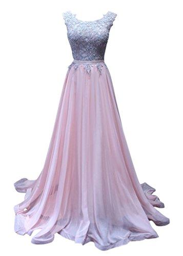 Charm Bridal Long Pink Chiffon Lace Summer Women Evening Prom Dress Sleeveless -20W-Pink by Charm Bridal