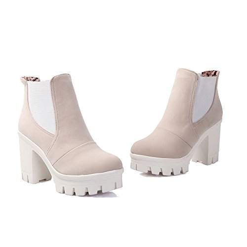 Pull Low Toe Closed High Women's Boots Suede Imitated Top Round Beige On AmoonyFashion Heels 51qvUw66