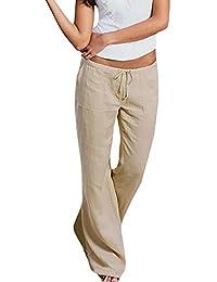 Women's Drawstring Closure Straight Leg Loose Linen Pants Plus Size