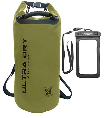 Premium Waterproof Bag, Sack with Phone Dry Bag and Long Adjustable Shoulder Strap Included, Perfect for Kayaking/Boating/Canoeing/Fishing/Rafting/Swimming/Camping (Green, 20 L)