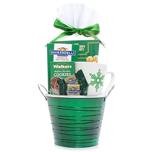 Holiday Cheer Green Themed Gift Basket - Ghirardelli Chocolate, cocoa, Walkers Cookies and The Popcorn Factory Kettle Corn with Snowflake Coffee Mug - Damage-Free Guarantee (Popcorn Factory Gifts Birthday)