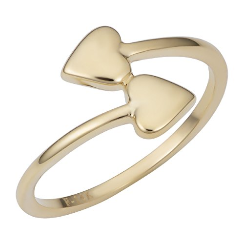 Kooljewelry 14k Yellow Gold Double Heart Bypass Ring (size 5)