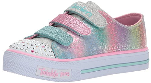 Skechers Kids Girls' Shuffles-MS. Mermaid Sneaker,Silver/Multi,5 Medium US Toddler