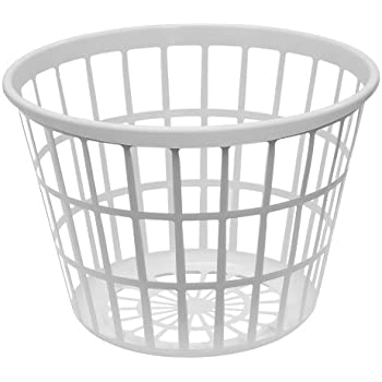 united solutions ln0108 white round plastic laundry basket small laundry basket. Black Bedroom Furniture Sets. Home Design Ideas