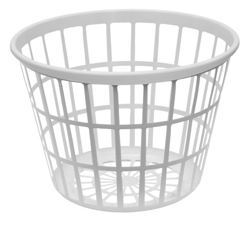 Round Laundry Basket (United Solutions LN0108 White Round Plastic Laundry Basket - Small Laundry Basket Round in White)