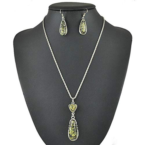 TOPOB Wedding Necklace Earring Water Drop-Shaped Agate Pendant Long Chain Jewelry Set Gifts (A) ()