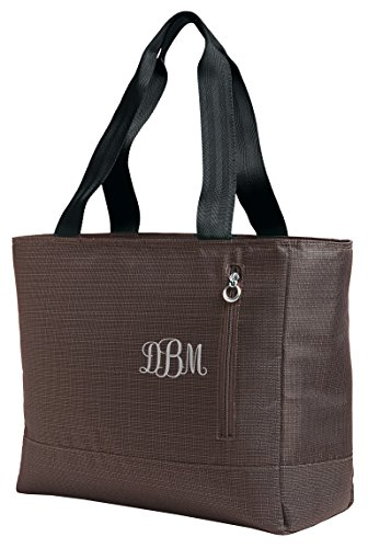 Personalized Brown Ladies Laptop Tote with Embroidered Curl -