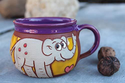 - Elephant mug, Pottery cup, Handmade coffee cup, Animal mug, Funny kids mug