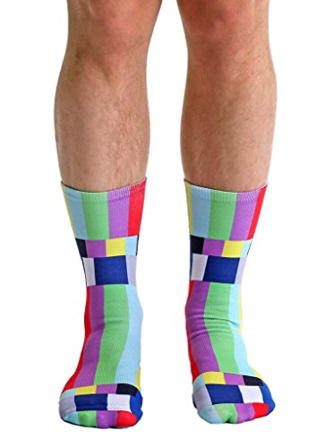 (Living Royal TV Warning Crew Socks with a Helicase brand sock ring)