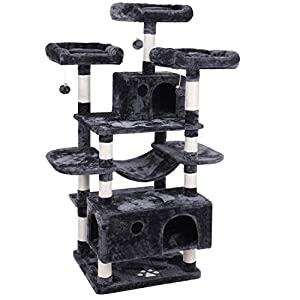 BEWISHOME Large Cat Tree Condo with Sisal Scratching Posts Perches...