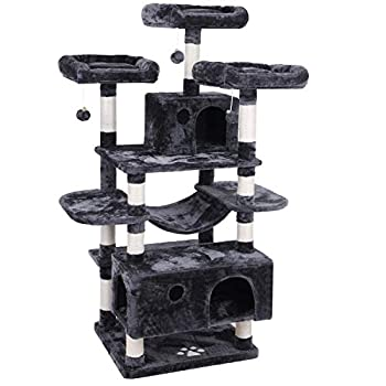 Image of BEWISHOME Large Cat Tree Condo with Sisal Scratching Posts Perches Houses Hammock, Cat Tower Furniture Kitty Activity Center Kitten Play House MMJ03 Pet Supplies