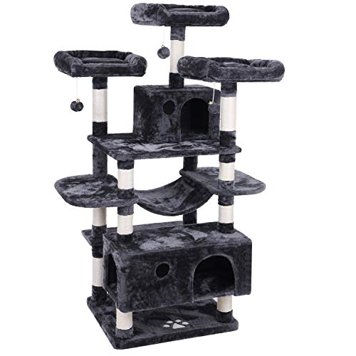 BEWISHOME Large Cat Tree Condo with Sisal Scratching Posts Perches Houses Hammock, Cat Tower Furniture Kitty Activity Center Kitten Play House Grey MMJ03B (Best Cat Trees For Multiple Cats)
