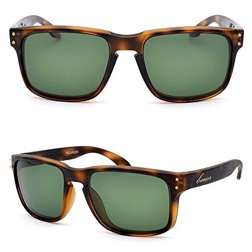 BNUS Italy made Classic Sunglasses Corning Real Glass Lens w. Polarized Option (Frame: Tortoise / Lens: Green G15, Polarized) N 3 Sunglasses