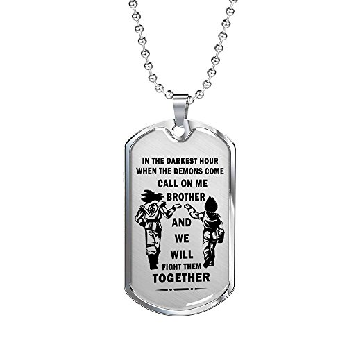 AZ Gifts Big Brother Dragonball Necklace Goku Vegeta Pendant - Unique Birthday Gifts Ideas From Friend On Birthday, Xmas...Silver Stainless Steel