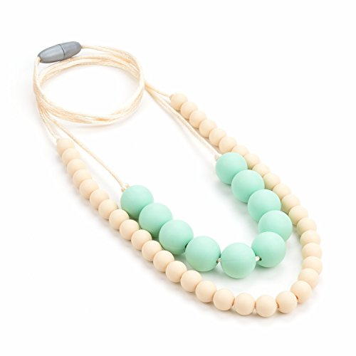 Lofca Silicone Teething Necklace-Baby Toy for Mom to Wear- Stylish Teether-Safe for Baby-100% BPA Free-'Eudora'(Navajowhite)