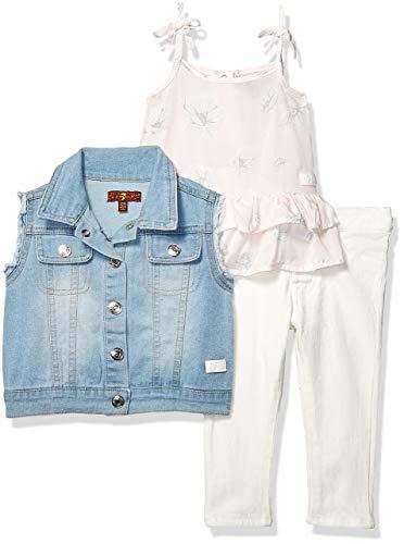(7 For All Mankind Kids Baby Girls Vest, Fashion Tank Top, and Denim Jean Set, Pearl Bloom Print/Medium Wash, 24M)