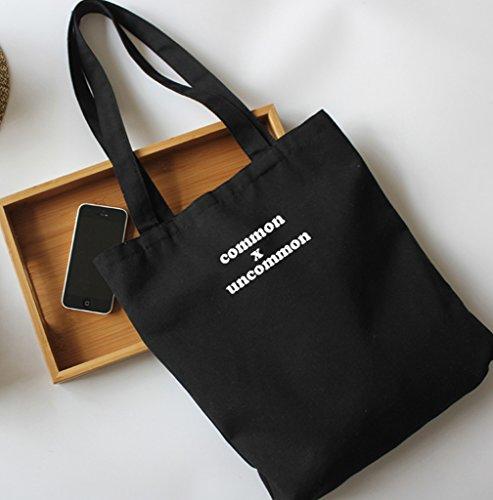 Natur Baumwolltasche Canvas Damentasche Einkaufstasche Stoffbeutel Shopper Schwarz common