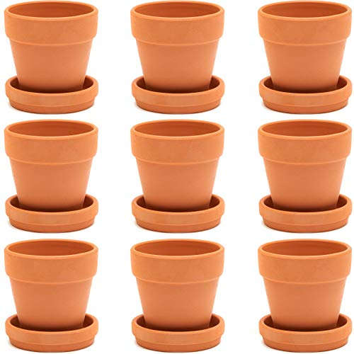 Terra Cotta Pots with Saucer (3 in, 9 Pack)