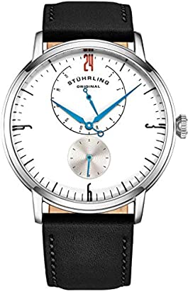 Stührling Original Mens Stainless Steel Formal Analog Dress Watch, Domed Crystal, Luxury Horween Leather Band, 24 Hour Subdial, 778 Cabaletta Watches Collection (White)