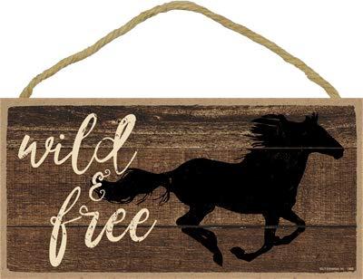 "SJT ENTERPRISES, INC. Wild & Free (Horse Running) 5"" x 10"" Wood Plaque Sign (SJT13668)"