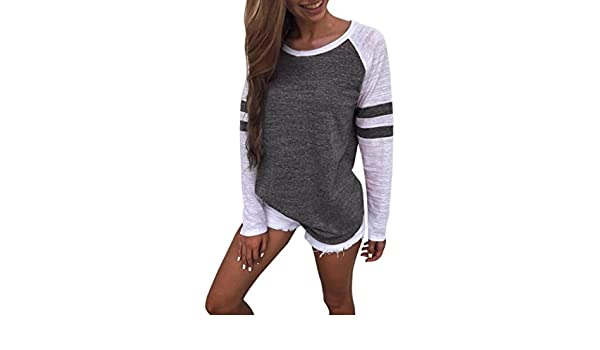 T Shirts - Blusa de manga larga para mujer, cuello en V, gasa, manga larga, para adolescentes, niñas, mujeres, camisetas, chalecos: Amazon.es: Hogar