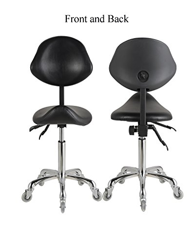 FRNIAMC Adjustable Saddle Stool Chairs With Back Support Ergonomic Rolling Seat For Medical Clinic Hospital Lab Pharmacy Studio Salon Workshop Office And Home by FRNIAMC (Image #4)