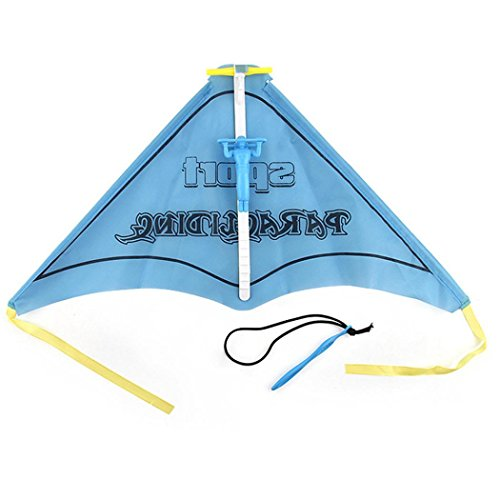 Kids Paragliding Flying Hang Glider Set Launch Catapult Slingshot Outdoor Toy (blue)
