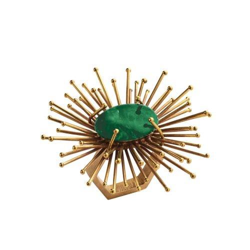 Kim Seybert Flare Napkin Ring In Gold & Emerald, Set of 4