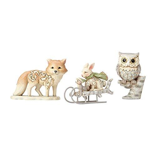 (Enesco Jim Shore Heartwood Creek White Woodland Owl, Squirrel, and Bunny, 2.5