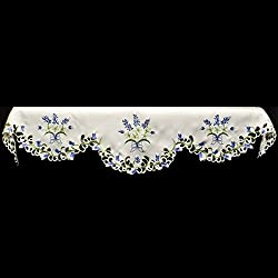 Emboidered Fireplace Mantel Scarf with Blue and White Blue Bonnets and Cut Work 19 x 90 Inches by Linens, Art and Things