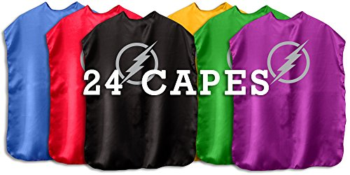 Superfly Kids Superhero Cape With Printed Emblem Set Of 24 (All Bolts)