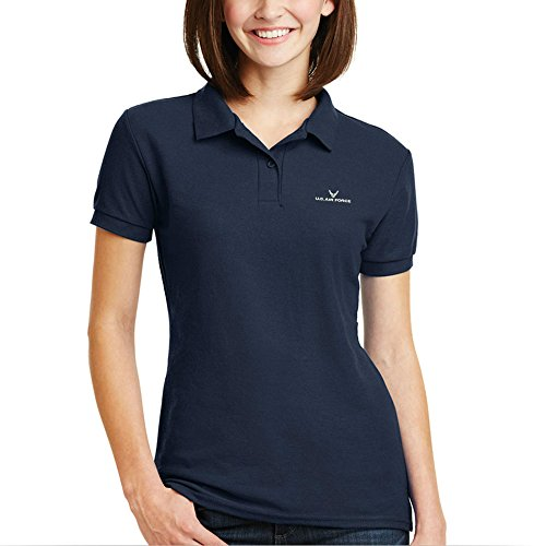 Womens US Air Force Wing Classic Embroidered Polo Shirts