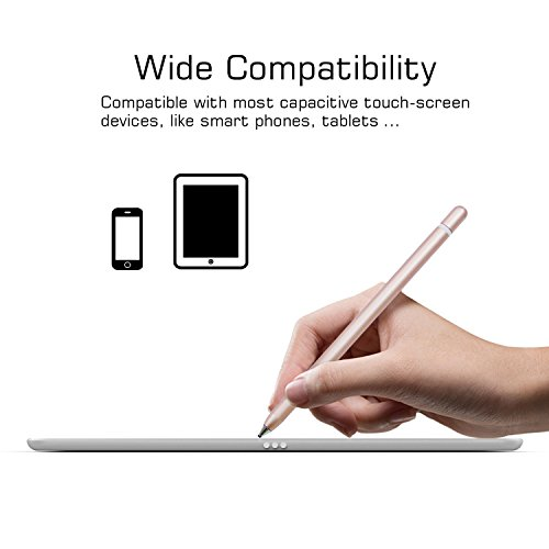 AMPLER Rechargeable Capacitive Stylus Digital Pen for Touchscreens, Touch Active Stylus Pen with 2.0 mm Fine Point Tip for iPad, iPhone, Good for Drawing, Writing - Rose Gold by AMPLER (Image #3)