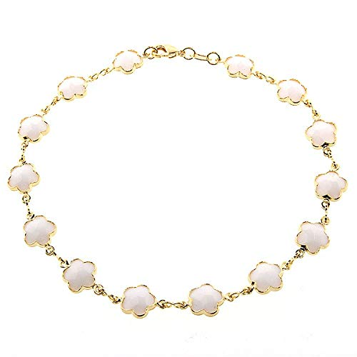 Gem Stone King 9.5 Inch Stunning White-Color Flower Stone Yellow Gold Plated Brass Anklet Bracelet