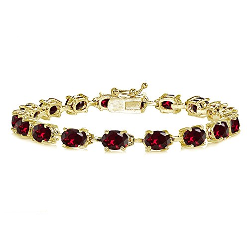 (Yellow Gold Flashed Sterling Silver Created Ruby 7x5mm Oval Classic Link Tennis Bracelet)