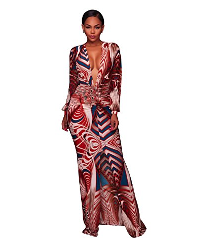 VERTTEE Deep V Neck Long Sleeve Bodycon Women's Maxi Dress Print Sexy Split Ruffle Casual Floral Cocktail Woman Dress Red L (Split Ruffle Dress)
