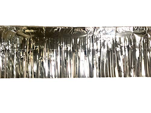 3 Pack | Silver Metallic Foil Tinsel Fringe Garland | Long Banner | 9 feet by 12 inches | for Parties, Wedding Decor, Birthdays, Holiday Decorations and Much More -
