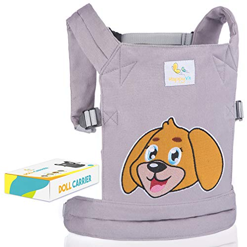 (HappyVk- Baby Doll Carrier for Boys and Girls- with Cute Puppy Embroidery. Fits Dolls or Stuffed Animals up to 24 inches, Front and Back (as Backpack Carrier) Positions Wearing.)