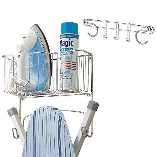 mDesign Wall Mount Metal Storage Organizers for Laundry - Includes Ironing Board Holder with Basket and Broom/Mop Holder with 3 Hooks - for Pantry, Kitchen, Garage - 2 Piece Set - Chrome ()