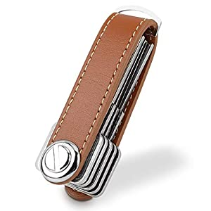 Bosiwee Smart Key Organizer, Compact Key Holder Leather Keychain, Folding Pocket Key Holder Chain (up to 16 Keys)