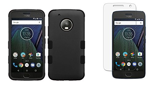 Price comparison product image Moto G5 Plus - Accessory Bundle with Shockproof [TUFF Series] [Military-Grade] Case - Black, Atom LED and Tempered Glass Screen Protector