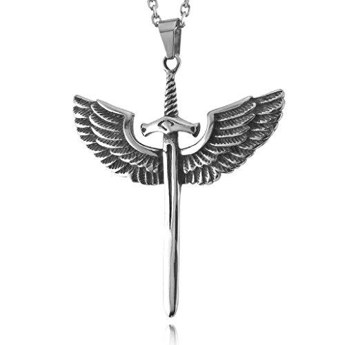 Epinki,Men's Stainless Steel Pendant Necklace Silver Black Angel Wing Dragon Sword Cross ()