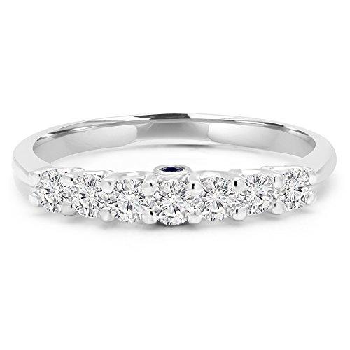 2/5/5ctw Coupe ronde Diamant et Saphir Bague anniversaire de mariage bande en or blanc 18K (md160261)