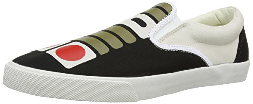 BucketFeet Mens Controller Canvas Slip On (Grey, Black, Red)11